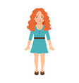 redhead girl in blue dress vector image vector image