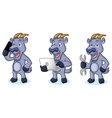 Royal Blue Mascot with phone vector image vector image
