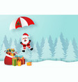 santa claus with christmas gifts in pine forest vector image vector image