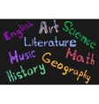school subjects name vector image