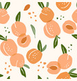 seamless pattern with peaches trendy hand vector image vector image