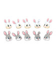 set cute cartoon rabbits heads vector image vector image