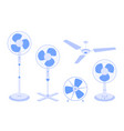 set electric fans various types isolated vector image vector image