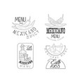 set of 4 hand drawn logos for mexican vector image vector image