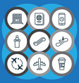 set of 9 airport icons includes registration vector image