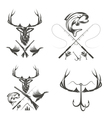 Set of vintage hunting and fishing labels and vector image
