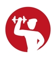 silhouette man fitness barbell lifting vector image