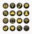 social yellow icons vector image vector image