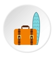 Surfboard and suitcase icon flat style vector image