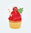 sweet red and cupcakes vector image
