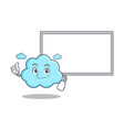 thumbs up with board cute cloud character cartoon vector image