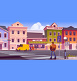 traveler man with map and backpack on city street vector image