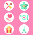 valentine day set icon sign symbol vector image vector image