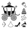 wedding and attributes black icons in set vector image vector image