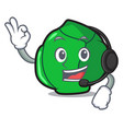 with headphone brussels mascot cartoon style vector image