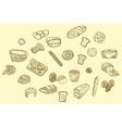 hand drawn bread icons set vector image