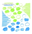 Set of blue and green fluorescent highlighter vector image