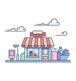 Shop building isolated on cloudy sky vector image