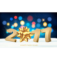 Happy new year 2017 Holiday background with a gift vector image