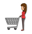 woman with shopping cart vector image