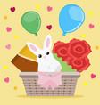 holiday greeting card with a wicker basket small vector image