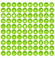100 rafting icons set green circle vector image vector image
