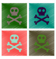 assembly flat shading style icons halloween skull vector image vector image