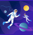 astronauts in outer space flat two vector image vector image