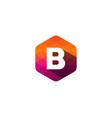 b hexagon pixel letter shadow logo icon design vector image vector image