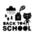 back to school traditional poster with cat cute vector image vector image