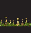 background with golden abstract christmas trees vector image