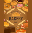 bakery shop cakes baker pastry desserts vector image vector image