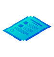 bill paper icon isometric style vector image