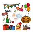 Birthday celebration thin line icons vector image vector image