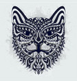 black and white stylized cat zentangle vector image vector image