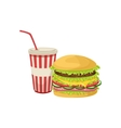 Burger Combo Street Food Menu Item Realistic vector image