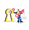 businessman identification on modern lock vector image vector image