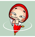 cartoon funny toothless girl in kerchief dancing vector image vector image