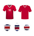 costa rica soccer jersey vector image vector image