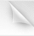 curved corner of a white paper eps 10 vector image