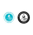 dermatologically tested label with water drop vector image vector image