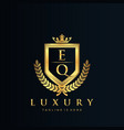eq letter initial with royal luxury logo template vector image vector image