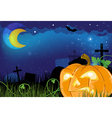 Evil Jack o lantern on a cemetery vector image vector image
