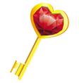 golden key with diamond heart vector image vector image