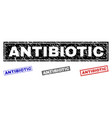 grunge antibiotic textured rectangle stamps vector image vector image