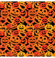 Halloween seamless pattern with pumpkins faces vector image