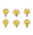 hand drawn lightbulbs vector image