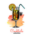 hand drawn orange cocktail vector image vector image