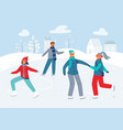 happy characters skating on ice rink winter season vector image vector image
