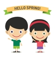 Hello Summer cartoon boy and girl with hands up vector image